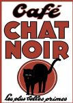 French Cafe Chat Noir Black Cat Metal Sign Plaque